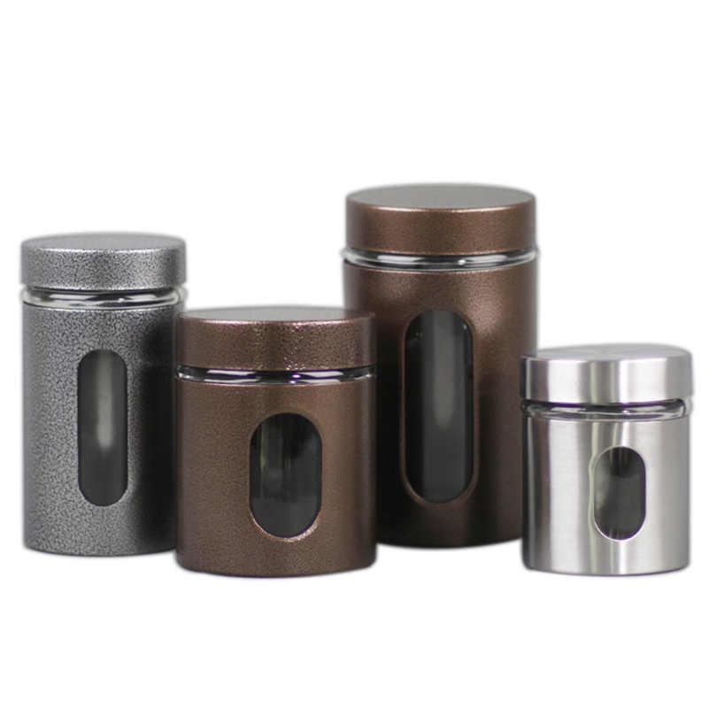 Xin jia yi 포장 스테인레스 스틸 유리 상자 튜브 창 차 커피 설탕 견과류 기밀 항아리 저장 유리 용기 빈