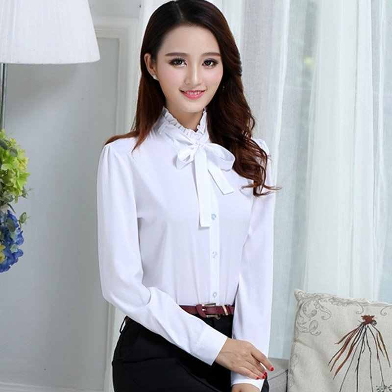 2019 Lente Vrouwen Office Lady Formele Party Vetersluiting Lange Mouwen Ruches Hals Slim Blouse Casual Solid Wit Shirt Tops
