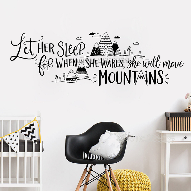 let her sleep for when she wakes art mountains quotes wall sticker
