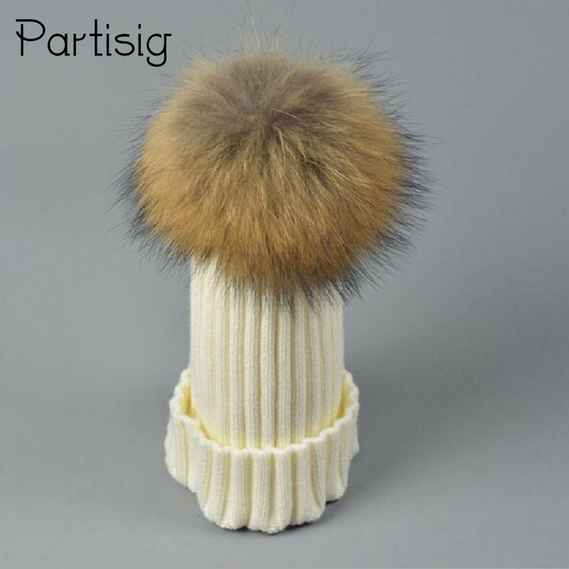 Baby Hats Real 15cm Raccoon Fur Hats For Baby Boys And Girls Children`s Winter Hats With Real Fur Ball On Top Boys Winter Caps