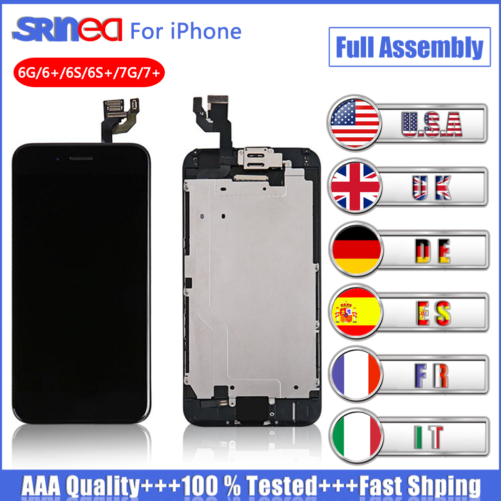 LCD Display For IPhone 7 7G Touch Screen 6s 6 S Plus 6G Digitizer Full Set Assembly Replacement +Front Camera+Sensor+ Speaker