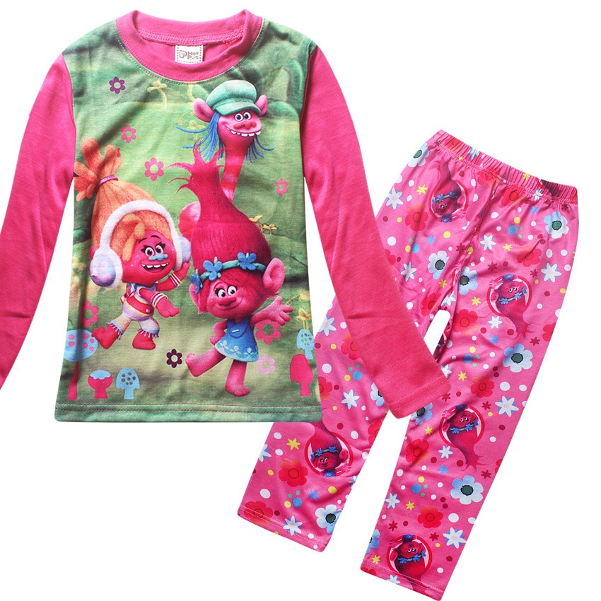 2017 Children Pajamas Set Long Sleeve Cartoon Pajamas Trolls Girls Pajamas Set Sleepwear Homewear Clothing Sets Robe Kids Under
