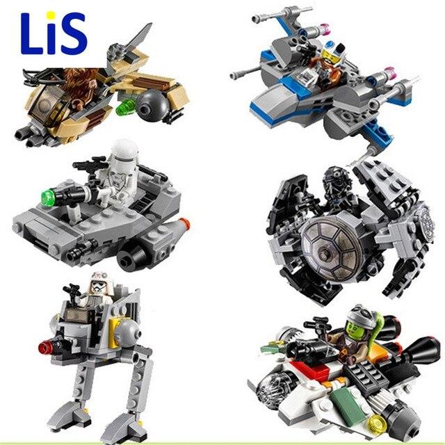 (Lis) 2016 Venda Quente 1 pcs Blocos Micro Lutadores Clone Wars StarWars Figuras Starwars Lutador Nave Espacial Clássico