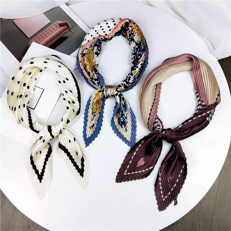 Square Scarf Women Fashion Print Small Fold Neck Scarf Office Lady Hair Band Foulard Hand Kerchief Female Bandana Shawl Headband in Women 39 s Scarves from Apparel Accessories