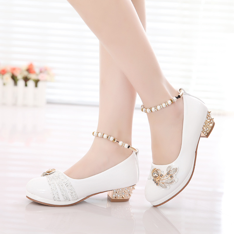 girls shoes 2018 spring princess black white party formal pearls pink faux leather Footwear for girls 10 year old big size 26-37 faux leather embossed panel formal shoes page 1
