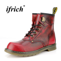 Hot Sale Martens Shoes for Men Wine Red Brown Work Male Boots Comfortable Youth Fashion Mens Shoes High Top British Retro Boots