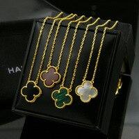 Heißer verkauf Schwarz Weiß Rot Grün Vier kleeblatt Keramik Blume Anhänger Mit Kurzen Kette Halskette Halsband für Frauen