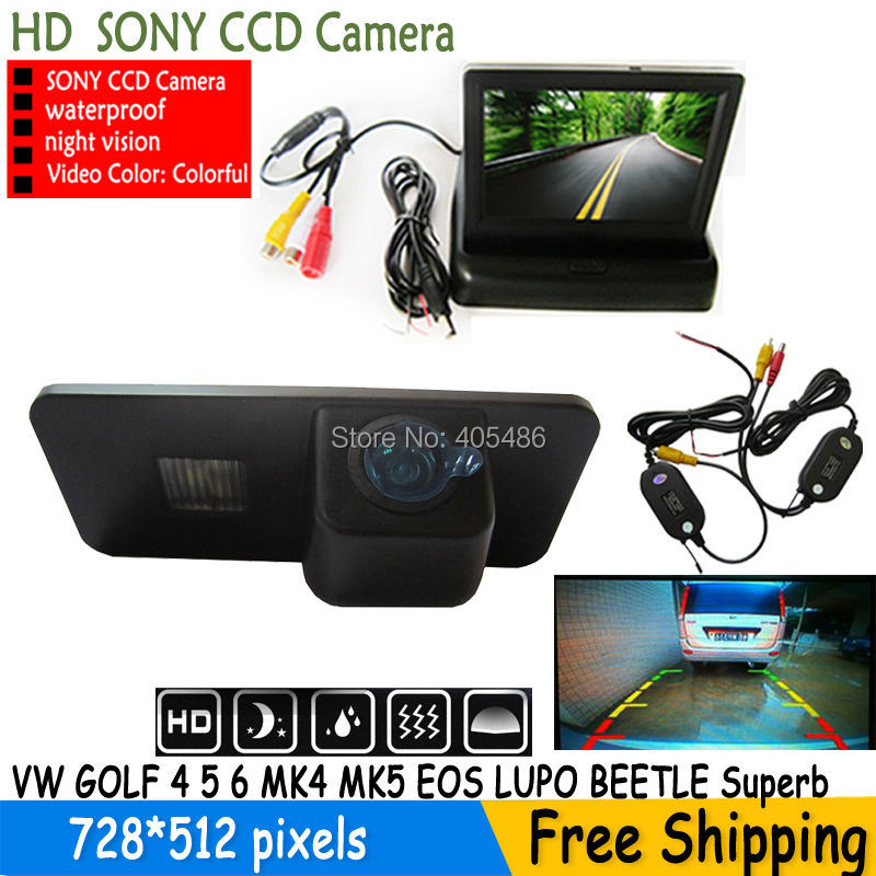 SONY CCD HD Car Rear View Camera With foldable Monitor For VW GOLF 4 5 6 MK4 MK5 EOS LUPO BEETLE PASSAT PHAETON SCIROCCO Superb