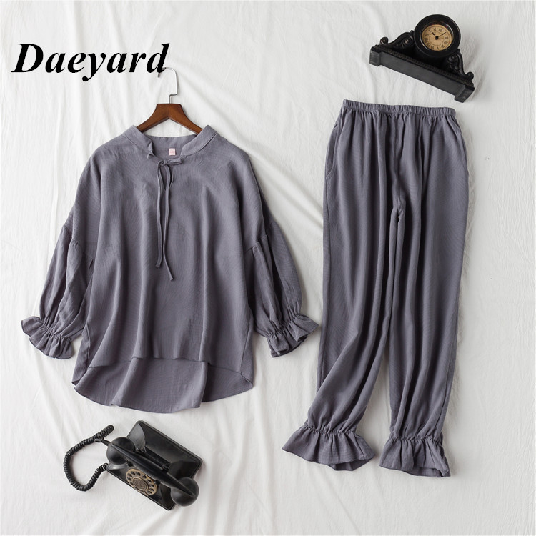 Daeyard 100% Cotton Pajama Sets Women Vintage Long Sleeve Shirts And Trousers 2Pcs Soft Pyjamas Sleepwear Cute Pullovers Suit