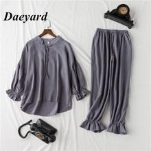 Daeyard 100% ฝ้ายชุดนอนชุดผู้หญิง VINTAGE เสื้อแขนยาวและกางเกง 2Pcs ชุดนอนชุดนอนน่ารัก Pullovers ชุด