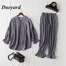 Daeyard 100% 코 튼 pyjama 세트 여성 빈티지 긴 소매 셔츠와 바지 2Pcs 소프트 잠 옷 슬리퍼 귀여운 Pullovers 양복
