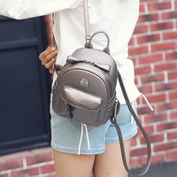 Fashion Women Mini Leather Backpack With Rivet Casual Pu Leather Shoulder Bag Girl School Backpacks Ladies