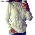 Preself suéter para mujer casual knitting jumper crew neck pullover manga larga tops de punto caliente del invierno de la manera superior de color blanco