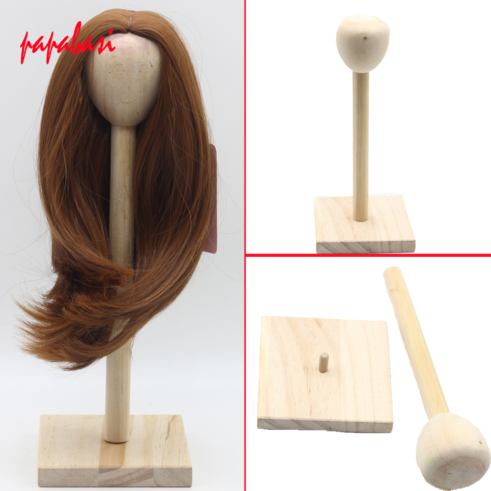 Papabasi 1pcs display hoder For 1/3 1/4 1/6 BJD Doll Wigs Doll Hair Wood Stand Rack uncle 1 3 1 4 1 6 doll accessories for bjd sd bjd eyelashes for doll 1 pair tx 03