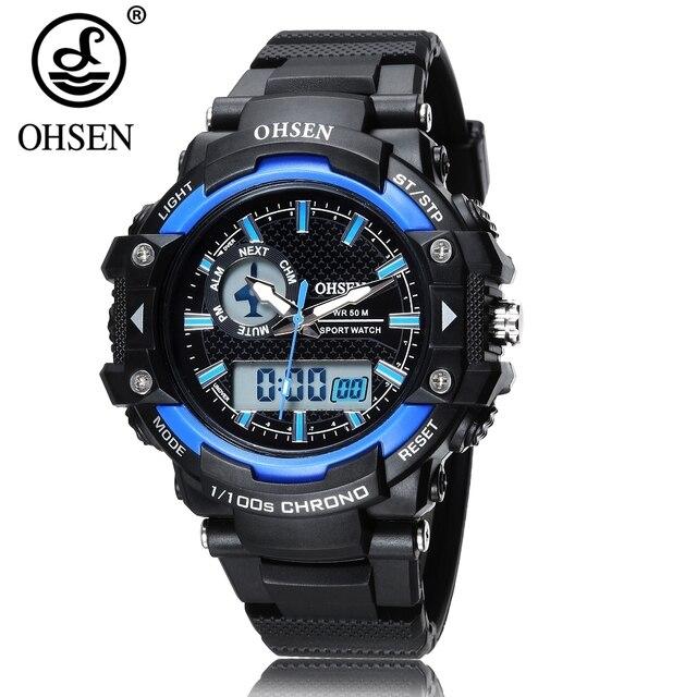 4752eeaffbbe 2017 Nuevo reloj de pulsera de cuarzo Digital OHSEN para Hombre ...