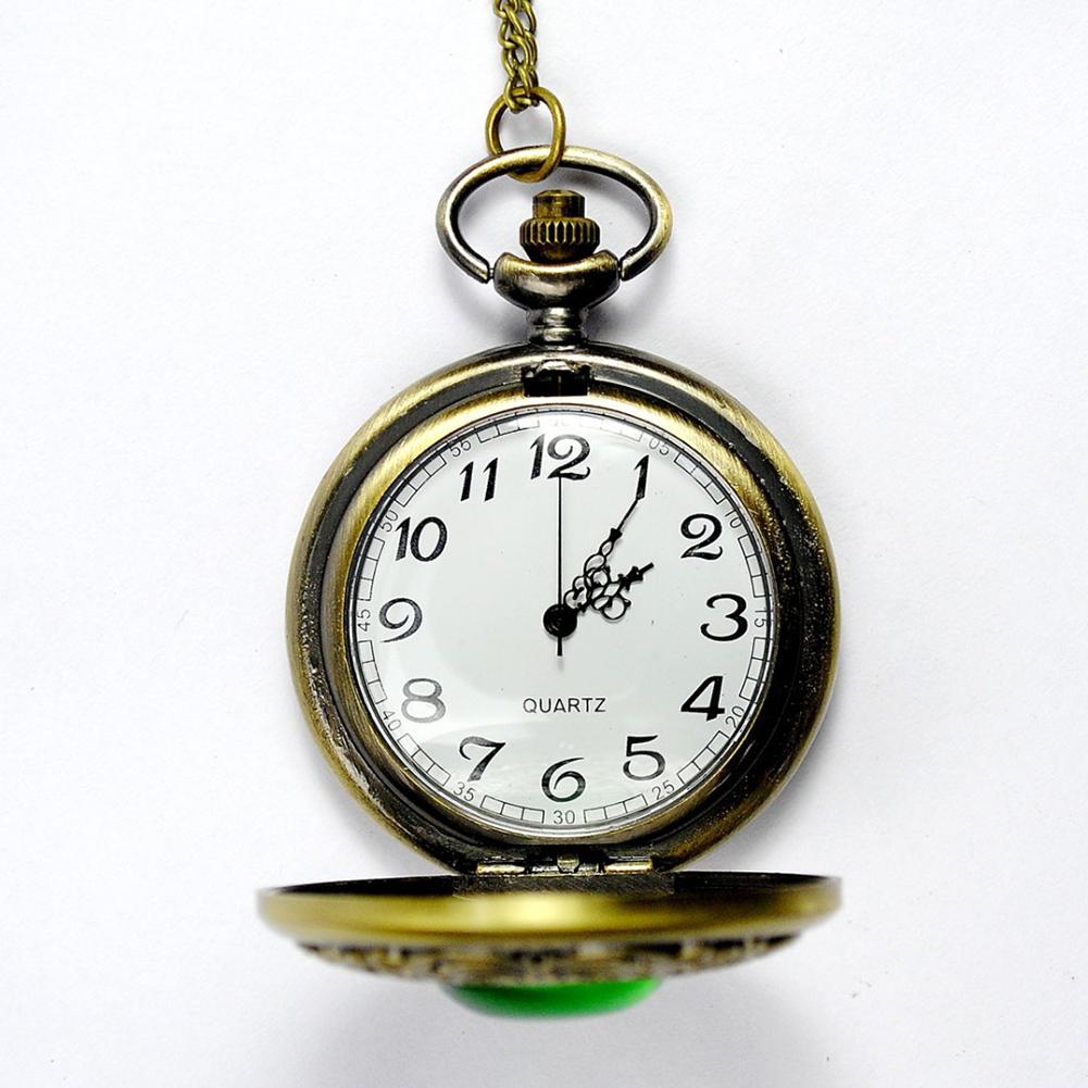 LinTimes Unisex Vintage Green Stone Pocket Watch Gothic Fashion Retro Green Opal Quartz Fob Watch With Chain