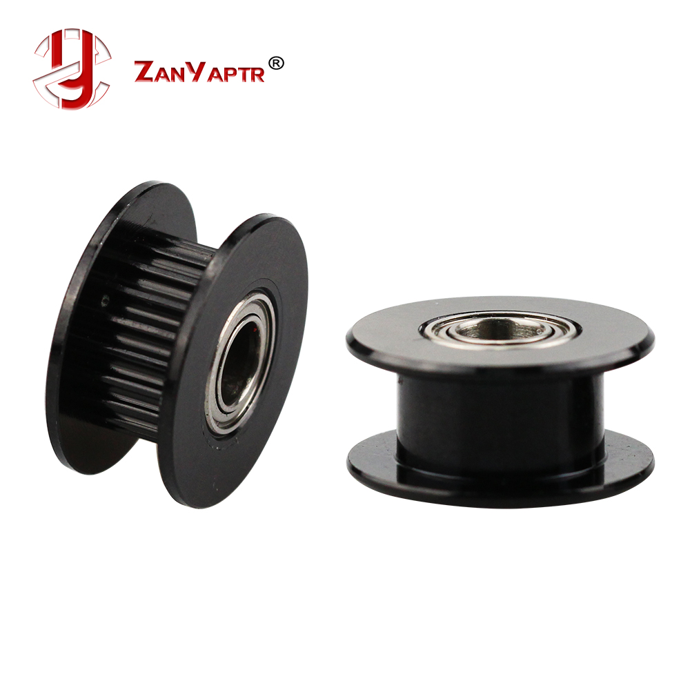 2GT 20 Teeth Idler Pulley Black Color Width 6mm Bore 3/4/5mm With Bearing For GT2 Timing Belt Synchronous Wheel