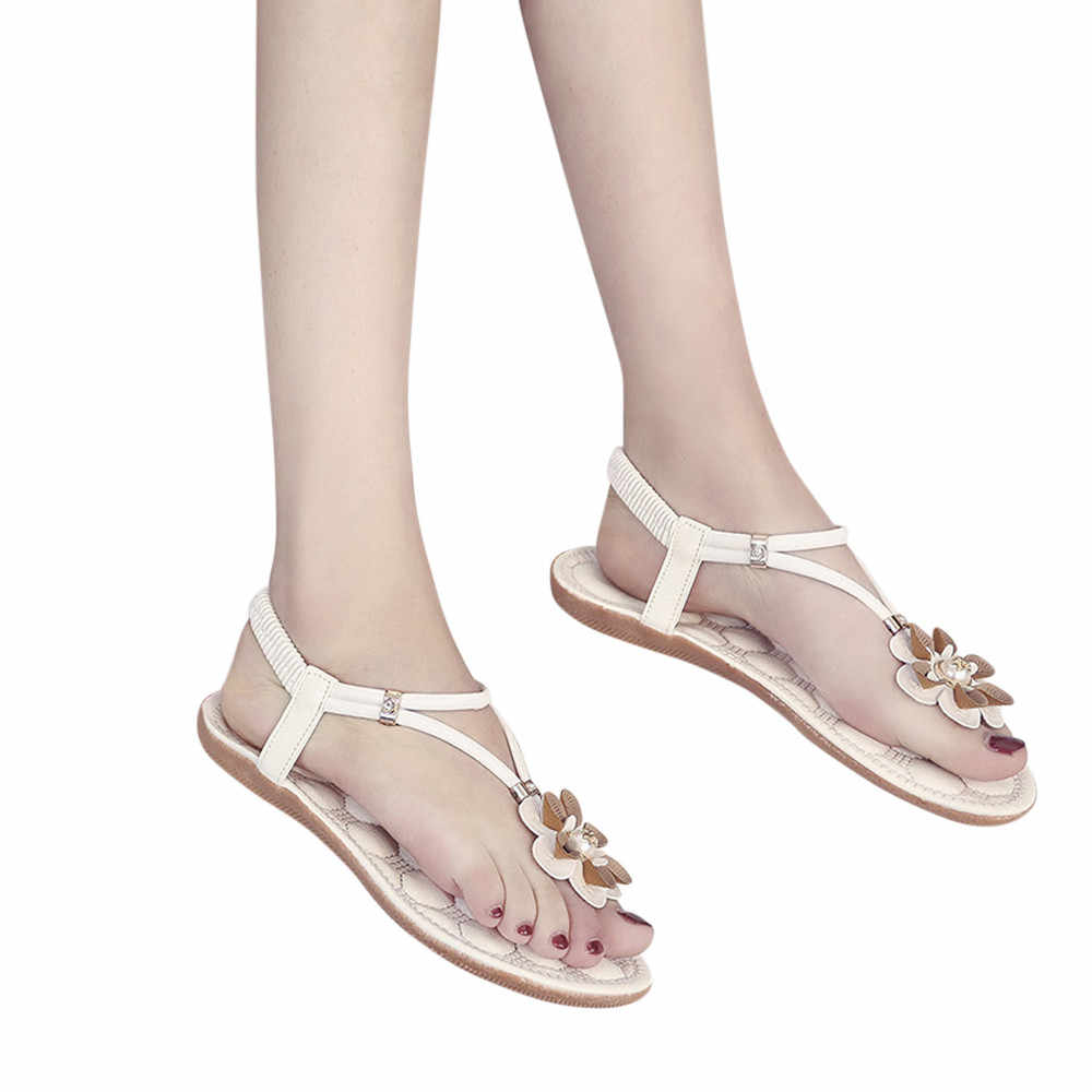 ... Summer Ladies Women Bohemian Ethnic Rhinestone Flat Sandals Roman  Gladiator Flip Flops Flower Shoes Girl Wedding ... a2a6066b1211