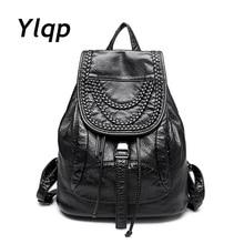 Новинка 2016 г. Высококачественная кожа рюкзаки дизайнер из стираной кожи сумка рюкзак ретро Корейская рюкзак сумка для девочек Mochila
