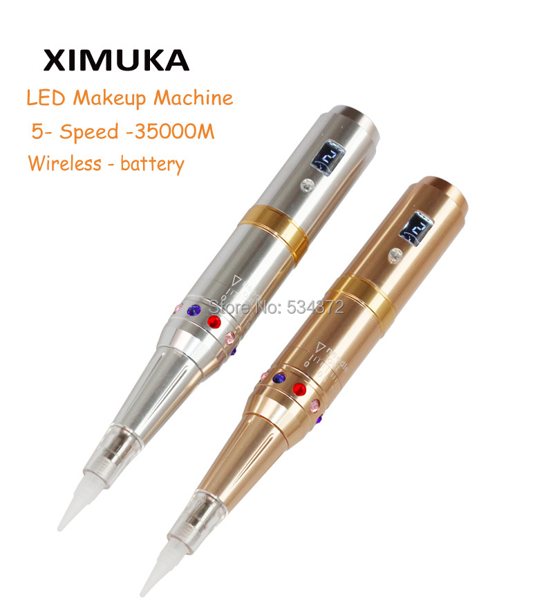 XIMUKA LED Wireless Tattoo Makeup Eyebrow Machine Import Motor Rotary Battery Charge Permanent Makeup Machine Pen electric makeup eyebrow lips pen permanent makeup machine rotary tattoo machine gun with swiss import motor