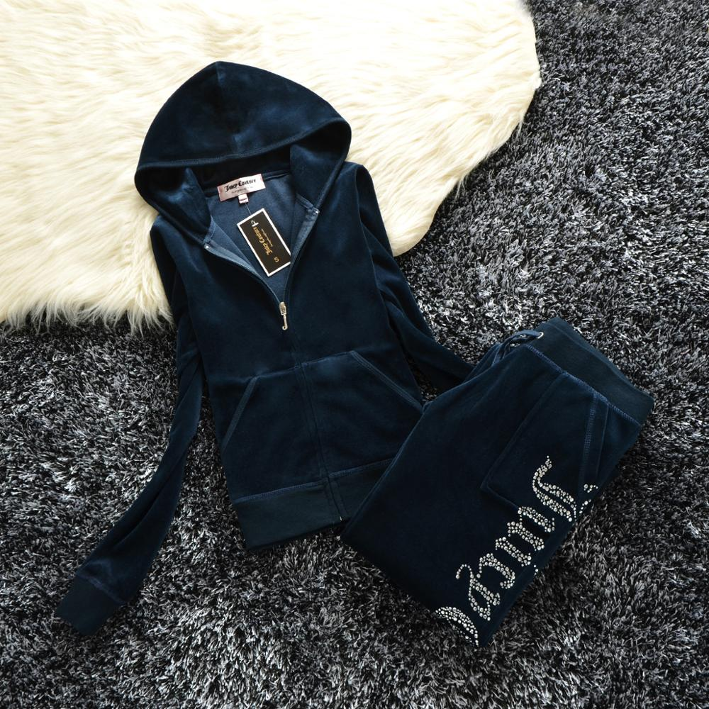 Spring/Fall 2019 Women's Brand Velvet Fabric Tracksuits Velour Suit Women Track Suit Hoodies And Pants Fat Sister Sportswear