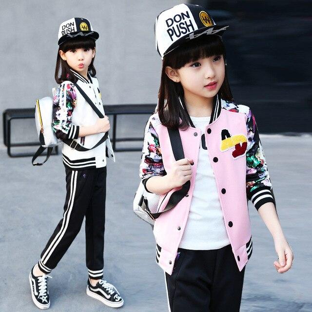 6a181f892 Ropa de los niños fijó otoño juego de los deportes de marea Coreana casual para  4 5 6 7 8 9 10 11 12 13 años de la muchacha ...