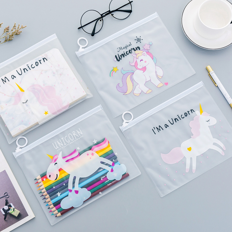 Office & School Supplies 100% Quality 1 Pcs Kawaii Cartoon Transparent Pencil Case Unicorn Big Large Document Bag Girls Kids Office School Supplies Stationery Modern Design Filing Products