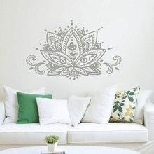Kwiat lotosu naklejka ścienna Namaste Mandala naklejki ścienne Boho czeski Home Decor indyjski wzór joga Studio ściany mural artystyczny MTL15