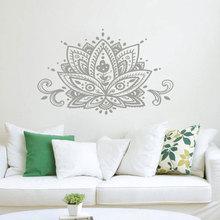 Lotus calcomanía de pared de flores para mujer, pegatina para pared Mandala Namaste, decoración Bohemia para el hogar, diseño indio, pared de estudio de Yoga, Mural artístico MTL15