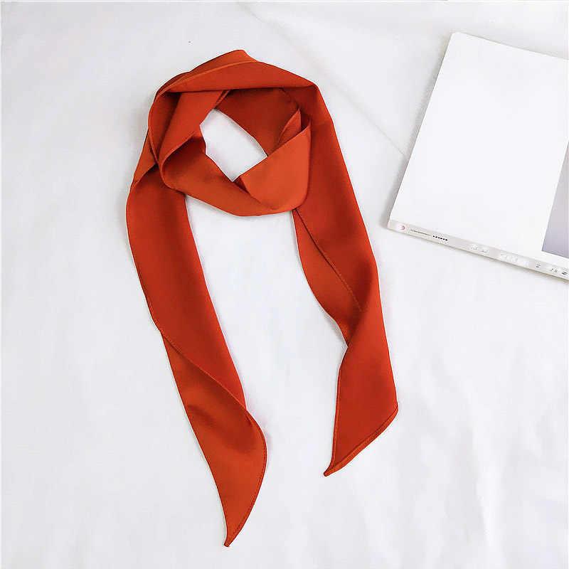 Женский модный квадратный шарф, шелковая повязка на голову, маленькая узкая сатиновая повязка для волос, Пашмина, однотонная цветная бандана