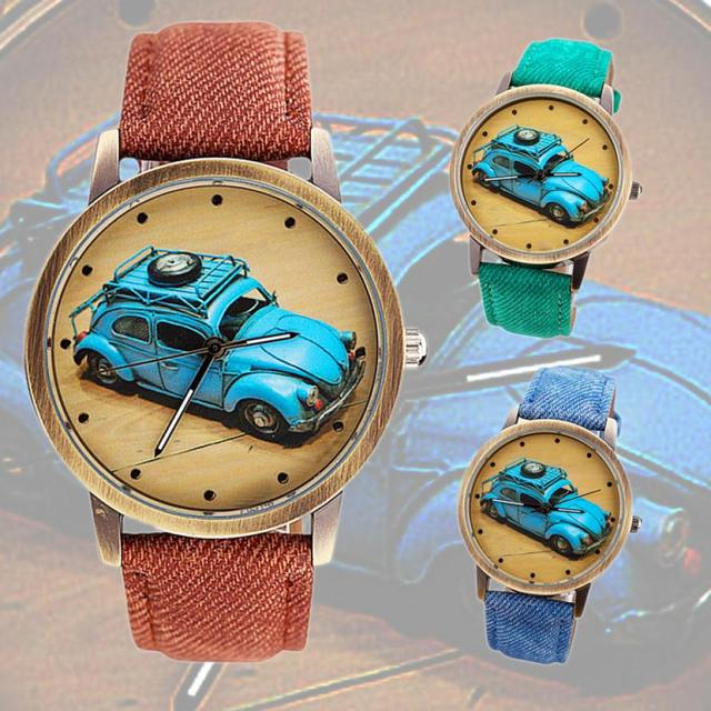 High Quality Women Watch Concise Fashion Men And Women Retro Car Pattern Denim T