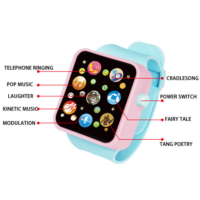 6 colors Children Kids Early Education Toy Wrist Watch 3D Touch Screen Music Smart Teaching Baby Hot Selling Birthday Gifts Toys