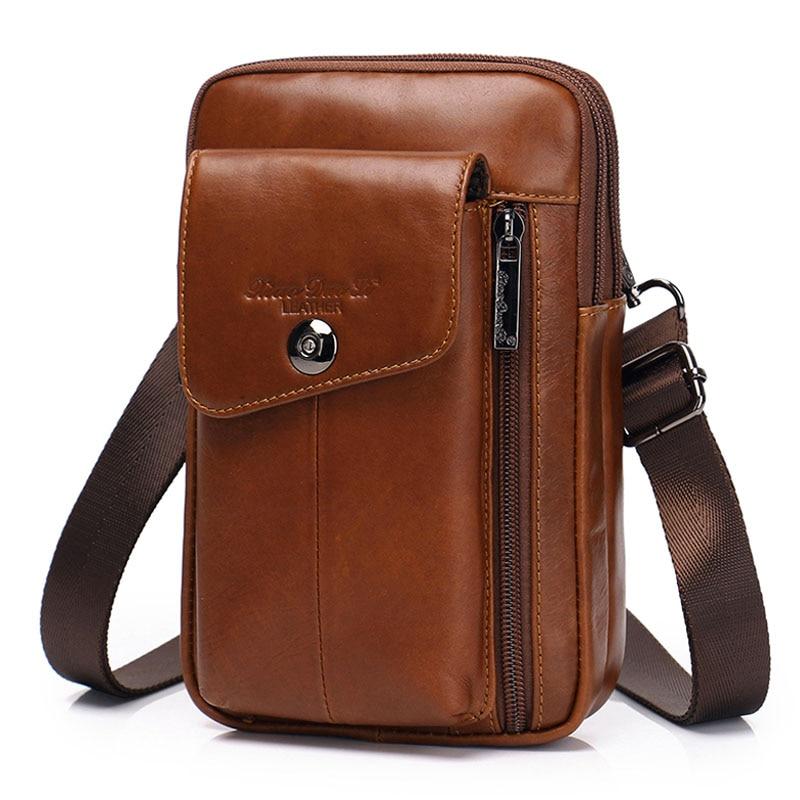 Buy Genuine Leather Men Bag Purse Waist Belt Pack Hook Cross Body  Business Cell Phone Case wallet Shoulder Fanny Messenger Bags for only 28.98 USD