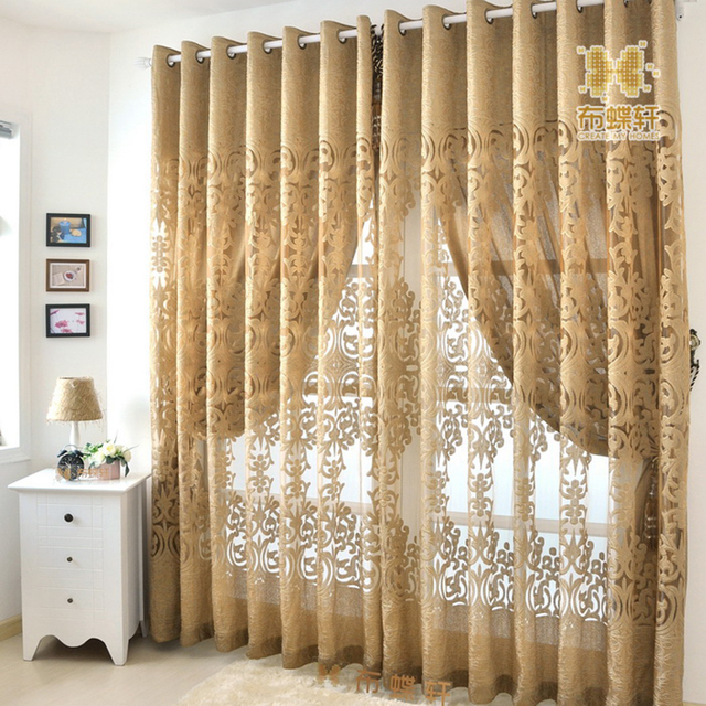 Window Panel Curtains Tulle Living Room Luxury European Fabric ...