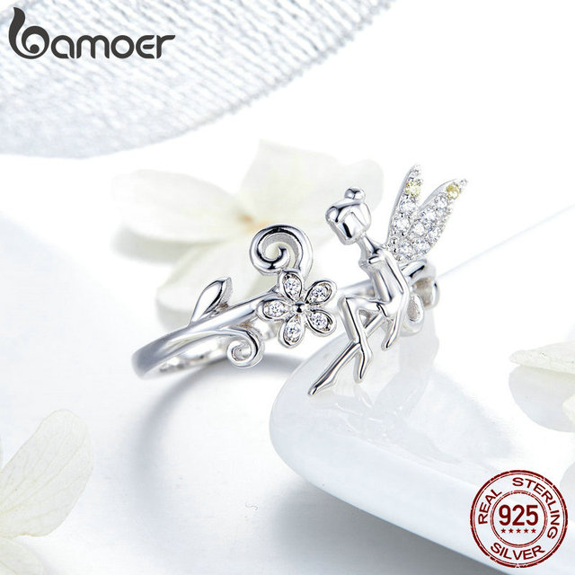 BAMOER GAR025 Silver Ring Fairy Wings Flowers Plant Ajustable Rings for Women 925 Sterling Silver Jewelry Girl Jewelry Gifts 2