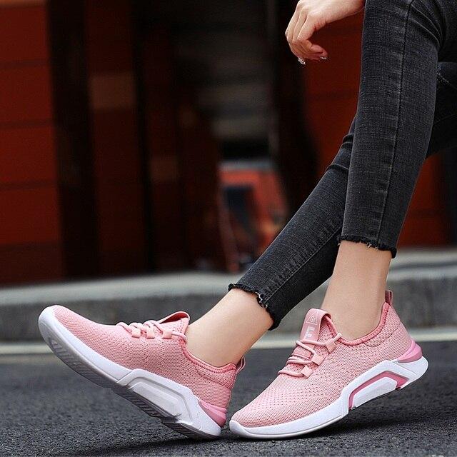 2019 Phụ Nữ Chun Giày Nền Tảng Hồng Đen Tắt Trắng Giày Tennis Huấn Luyện Viên Phối Ren Bố Giày Nữ Giày Size 36 -42