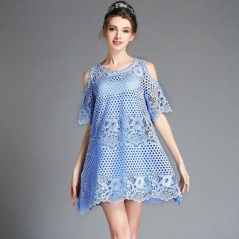 Summer Women Plus Size O-Neck Short Sleeve Dress Stripe Cold Shoulder Dresses