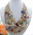 Charming! 6 strands  Agate&Crystal Necklace  free  shipment