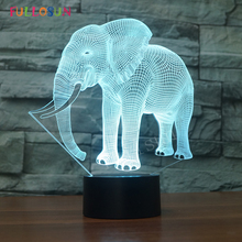 hot deal buy gift lights elephant 3d led night lights novelty led animal lamp colorful changing led touch table lamp as bedroom decoration