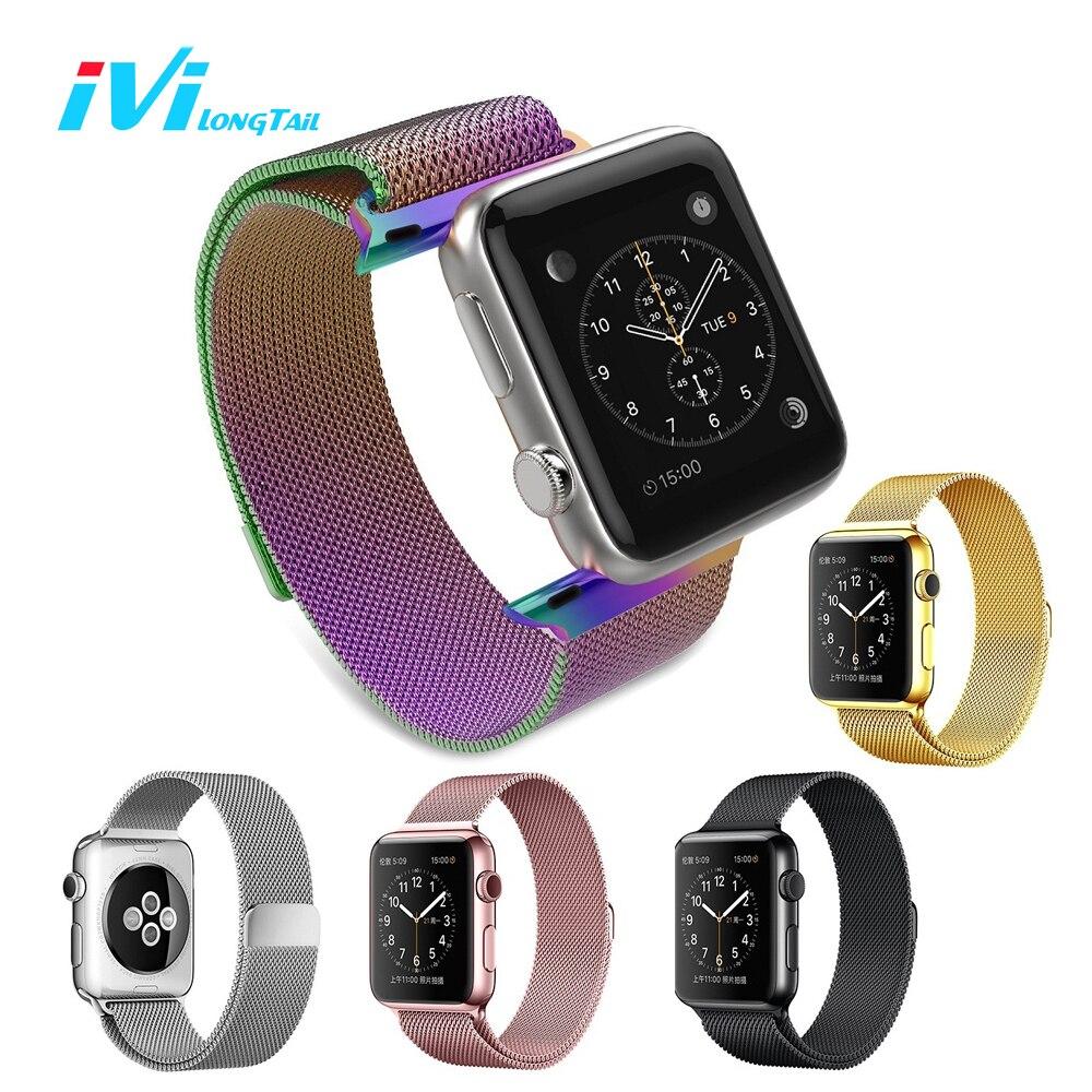 imágenes para IVI Para Apple Cubierta de la Correa de Reloj Band Series 1 2 38mm 42mm Sport Edition Milan Metal Magnética del Acero Inoxidable Del Arco Iris colorido