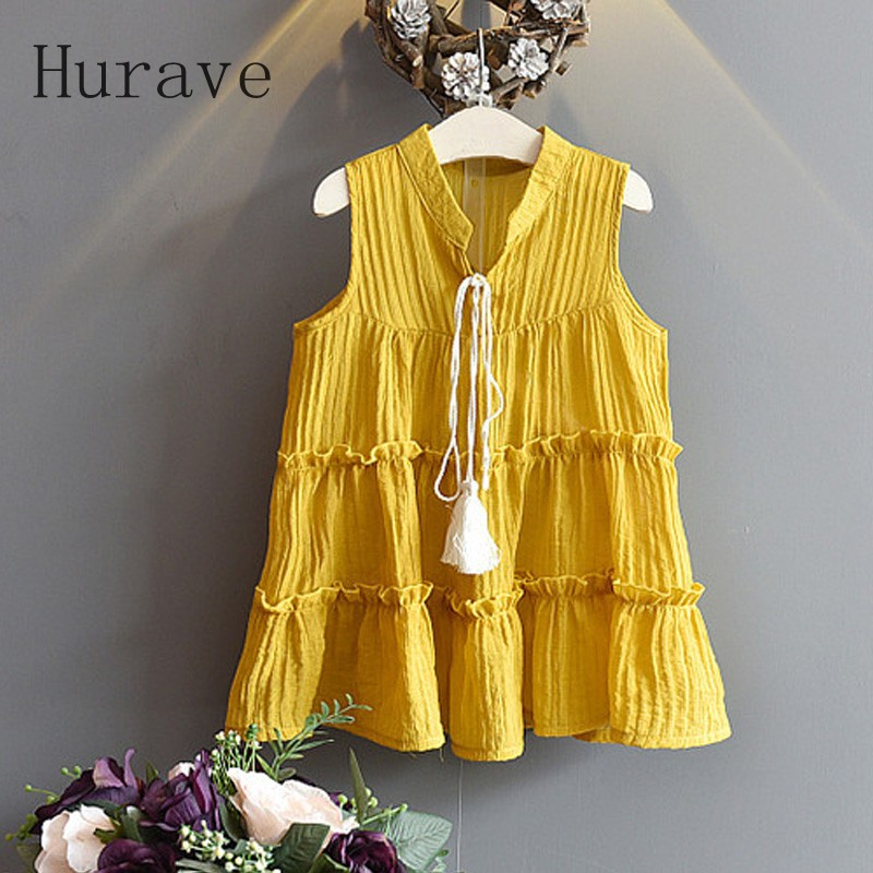 Hurave 2017 New Casual Dress Girls Boho Dresses Cotton Spring Summer Kids Sleeveless Casual Clothes Tassel Teenager Clothing