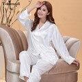 Pijamas Mulheres Outono Fino Branco das senhoras Pijamas De Seda De Cetim Conjuntos de Pijama de Seda Sleepwear Sono das Mulheres Salão Pijamas Mujer