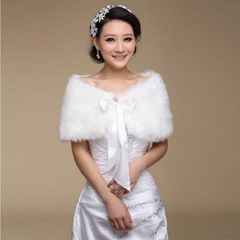 2020 Fur Shawl Wedding Wrap Formal Dress Cheongsam Pregnantwith Married Outerwear Bride Cape White Autumn Winter Jacket