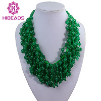 Superb Green Stone Strands Necklace Knotted Natural Beads Chunky Bib Statement Necklace Free Shipping GS008