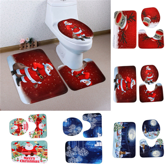 3pcs Fancy Santa Toilet Seat Cover Rug Bathroom Set Christmas Decoration For Home