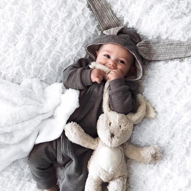 18a99d91fc3 Lindo bebé recién nacido bebé niña niño ropa 3D Bunny oído mono mameluco mono  otoño invierno