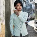Men's cotton linen casual shirt stand collar long sleeve fashion business shirt male solid color slim fit shirt C130