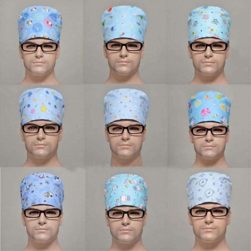 5 Pcs Men's Print Adjustable Medical Scrub Caps Dentist Clinic Work Surgical Hats Nurse Round Caps Add Sweat-absorbent Towel