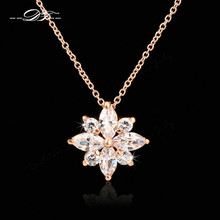 Snowflake CZ Stone Necklaces & Pendants Silver/Rose Gold Color Fashion Chain Cubic Zirconia Jewelry For Women DFN400