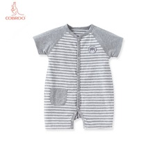 COBROO Baby Summer Rompers 100% Cotton with Stripe Pattern V-Neck Short-Sleeve Boy Girl One-Pieces for 0-3-6-9 Months